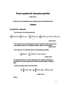 Ferent equation for elementary particles - viXra