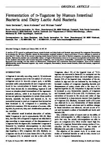 Fermentation of D-Tagatose by Human Intestinal Bacteria and Dairy ...