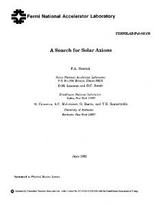 Fermi National Accelerator Laboratory A Search for Solar Axions