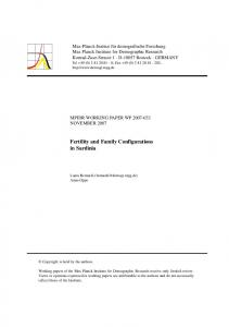 Fertility and Family Configurations in Sardinia - the Max Planck