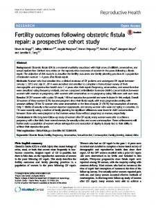 Fertility outcomes following obstetric fistula repair: a prospective cohort