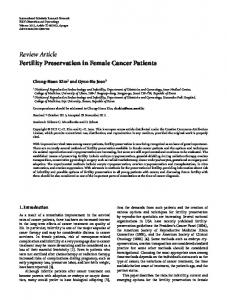 Fertility Preservation in Female Cancer Patients