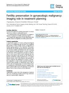 Fertility preservation in gynaecologic malignancy - Springer Link