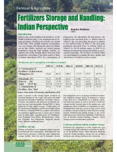 Fertilizers Storage and Handling: Indian Perspective