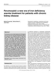 Ferumoxytol: a new era of iron deficiency anemia treatment for