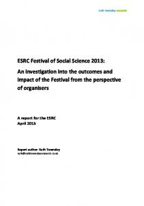 Festival of Social Science 2013 evaluation - Economic and Social ...
