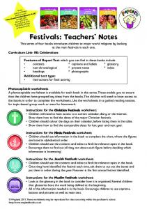 Festivals: Teachers' Notes