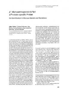 fi Microseminoprotein Is Not a Prostate-specific Protein - Europe PMC