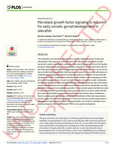 Fibroblast growth factor signaling is required for early somatic gonad ...