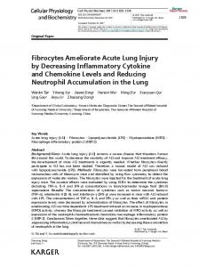 Fibrocytes Ameliorate Acute Lung Injury by ...