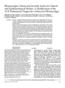 Fibromyalgia Criteria and Severity Scales for Clinical and ...