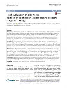 Field evaluation of diagnostic performance of malaria rapid diagnostic ...