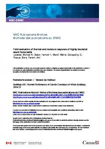 Field evaluation of thermal and moisture response of highly insulated ...