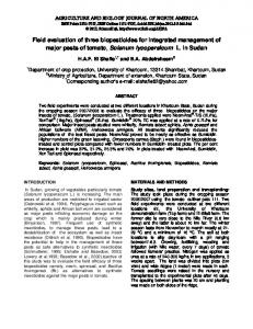 Field evaluation of three biopesticides for integrated management of ...