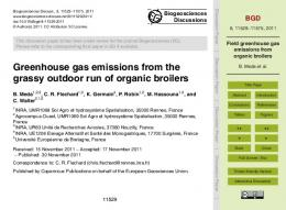Field greenhouse gas emissions from organic