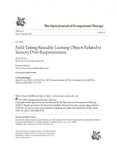 Field-Testing Reusable Learning Objects Related to Sensory Over ...