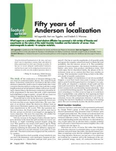 Fifty years of Anderson localization - Institut d'Optique Graduate School