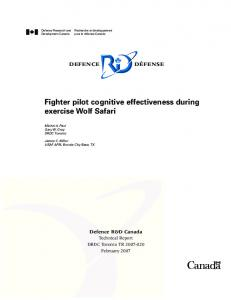 Fighter Pilot Cognitive Effectiveness During Exercise Wolf Safari