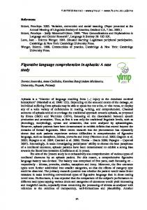 Figurative language comprehension in aphasia: A