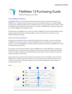FileMaker 13 Purchasing Guide