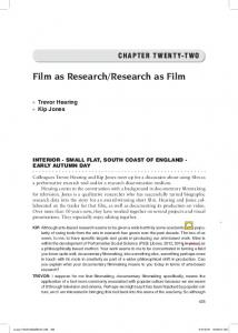 Film as Research/Research as Film