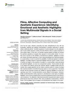 Films, Affective Computing and Aesthetic Experience - Semantic Scholar