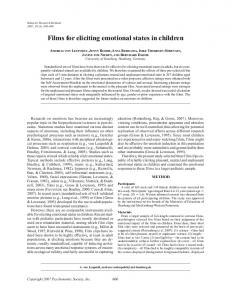 Films for eliciting emotional states in children - Springer Link