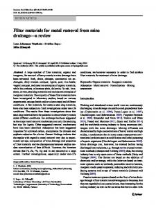 Filter materials for metal removal from mine drainage ... - Springer Link