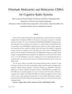 Filterbank Multicarrier and Multicarrier CDMA for Cognitive Radio ...
