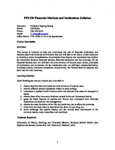 FIN330 Financial Markets and Institutions Syllabus
