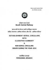 final circulars -2010 - South Central Railway - Indian Railway