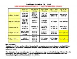 Final Exam Schedule FALL 2013 - Inside Mines