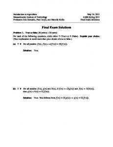 Final Exam Solutions - courses - MIT