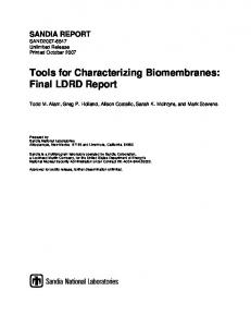 Final LDRD Report - Sandia National Laboratories