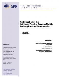 Final Report - Employment & Training Administration