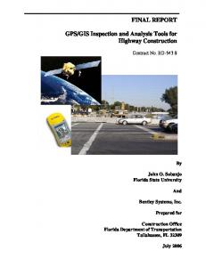 FINAL REPORT GPS/GIS Inspection and Analysis Tools for Highway ...