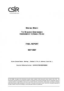 final report may 2007 - CSIR Research Space