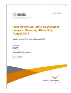 Final Review of Safety Assessment Issues at Savannah River Site ...