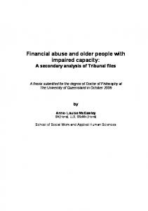 Financial abuse and older people with impaired capacity - UQ eSpace