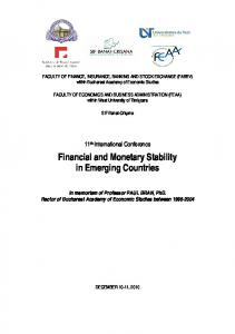 Financial and Monetary Stability in Emerging