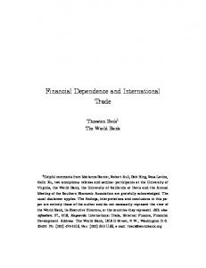 Financial Dependence and International Trade - Semantic Scholar
