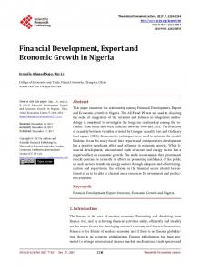 Financial Development, Export and Economic Growth in Nigeria