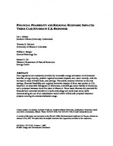 FINANCIAL FEASIBILITY AND REGIONAL ECONOMIC IMPACTS ...