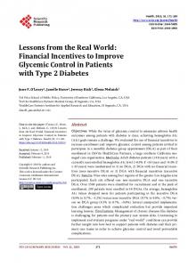 Financial Incentives to Improve Glycemic Control in Patients with Type ...