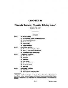 Financial Industry Transfer Pricing Issues