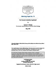 Financial Instability Hypothesis - Levy Economics Institute of Bard ...