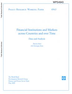 Financial Institutions and Markets across Countries