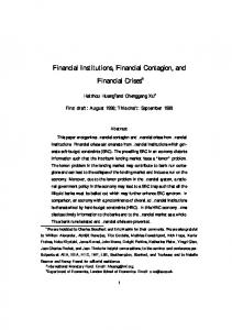 Financial Institutions, Financial Contagion, and ...
