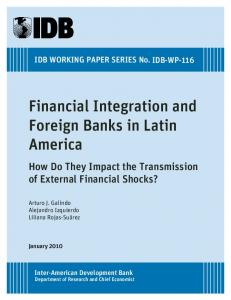 Financial Integration and Foreign Banks in Latin America: How Do ...