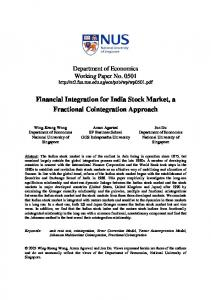 Financial Integration for India Stock Market, a Fractional ... - CiteSeerX
